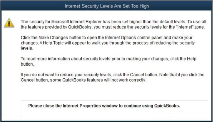 Quickbooks and Server 2016 – Internet Security levels are set to